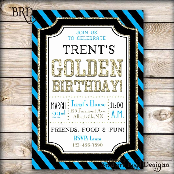 Golden Birthday Invitation Wording Awesome Boy Golden Birthday Party Invitation Gold Black 30th Birthday