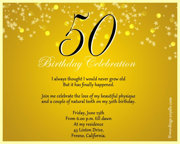 Golden Birthday Invitation Wording Beautiful 50th Birthday Party Invitation Wording Ideas