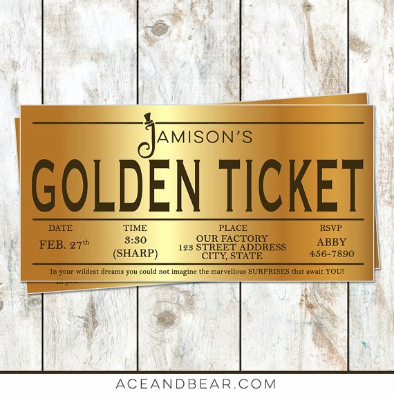 Golden Birthday Invitation Wording Elegant Best 25 Golden Ticket Ideas On Pinterest