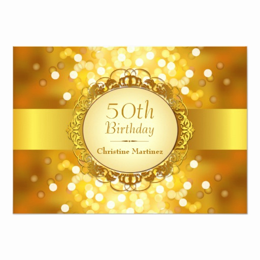 Golden Birthday Invitation Wording Fresh Golden Bokeh 50th Birthday Party 5x7 Paper Invitation Card