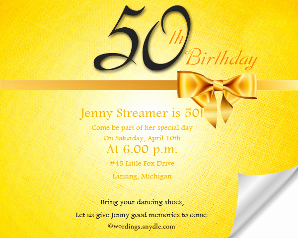 Golden Birthday Invitation Wording Inspirational 50th Birthday Invitation Wording Samples Wordings and