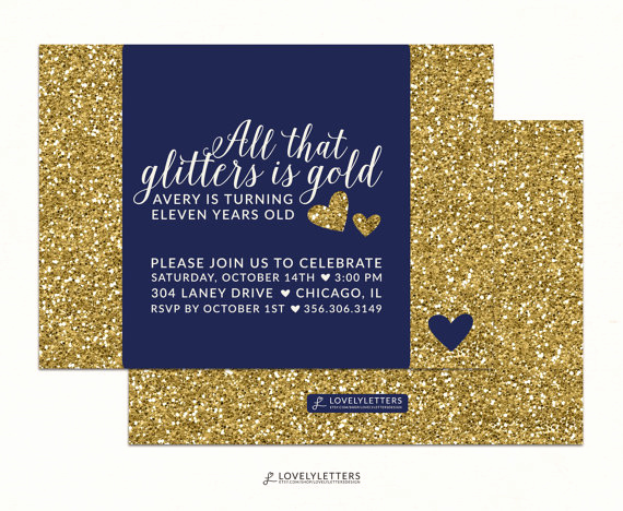Golden Birthday Invitation Wording Inspirational All that Glitters is Gold Invitation Golden Birthday
