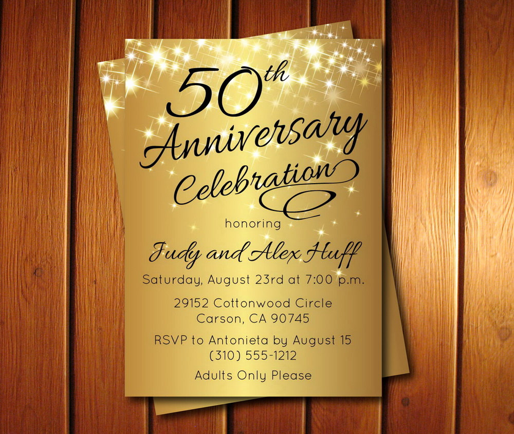 Golden Birthday Invitation Wording Luxury 50th Anniversary Invitation Golden Invite