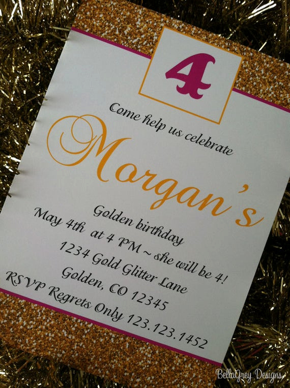 Golden Birthday Invitation Wording New Golden Birthday Party Invitations Printable by