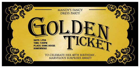 Golden Birthday Invitation Wording Unique Birthday Party Invitations Willy's Golden Ticket