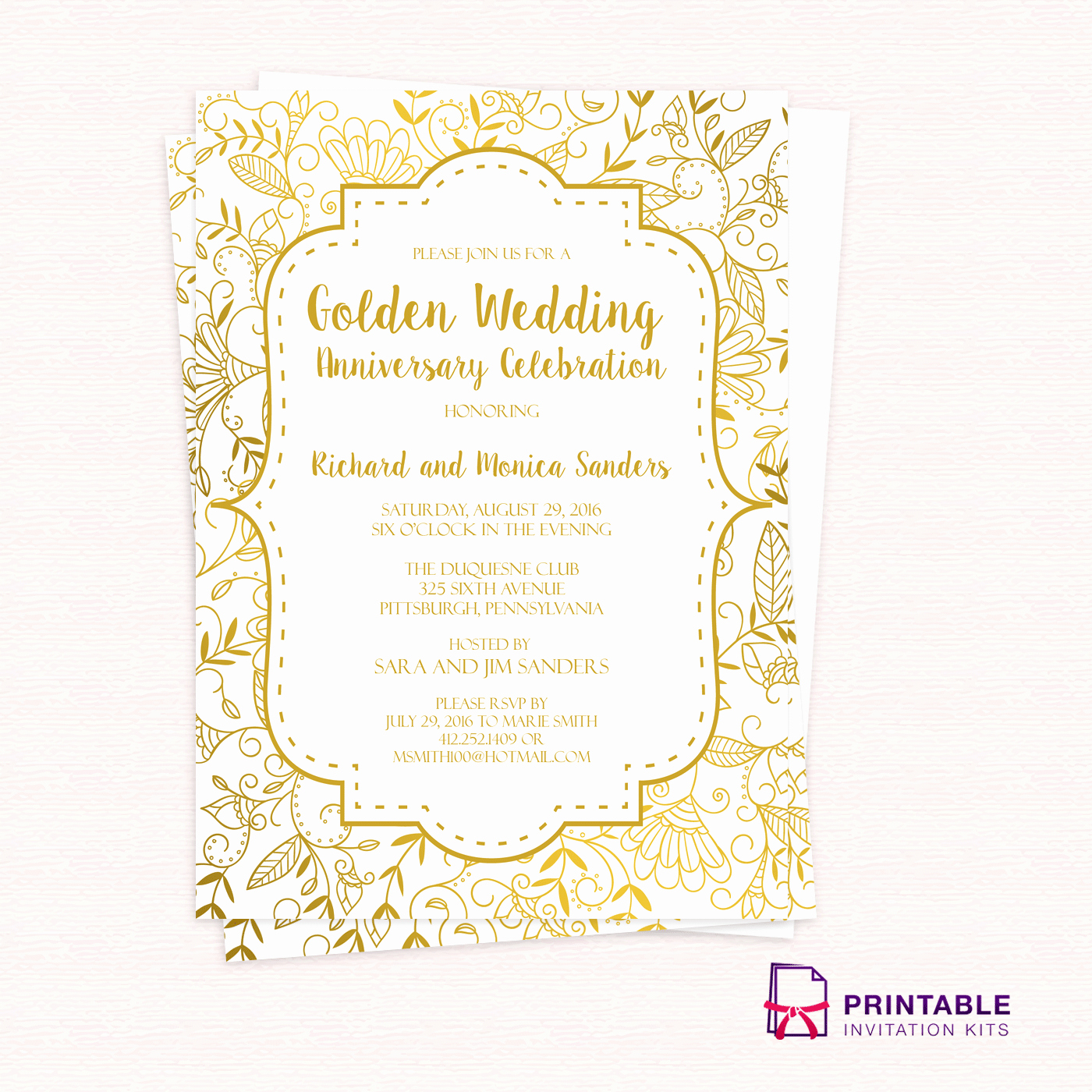 Golden Birthday Invitation Wording Unique Golden Wedding Anniversary Invitation Template