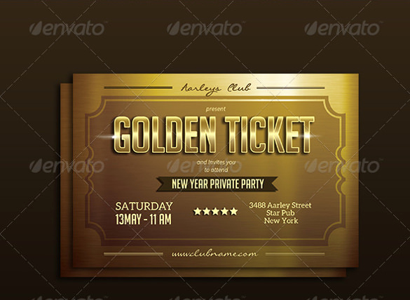 Golden Ticket Birthday Invitation Awesome 66 Ticket Invitation Templates Psd Vector Eps Ai