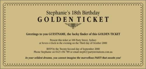 Golden Ticket Birthday Invitation Awesome Golden Ticket Birthday Invitations Available In Printable