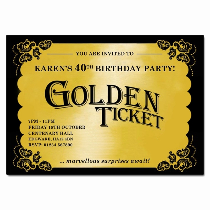 Golden Ticket Birthday Invitation Awesome Golden Ticket Birthday Party Invitations Cobypic