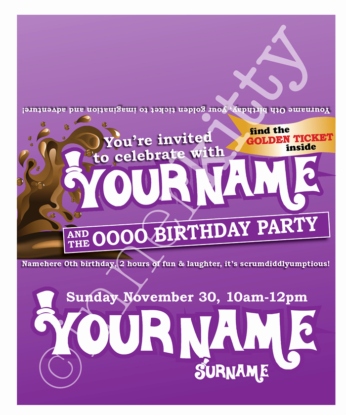 Golden Ticket Birthday Invitation Beautiful Williy Wonka Chocolate Bar Invites with Golden Ticket