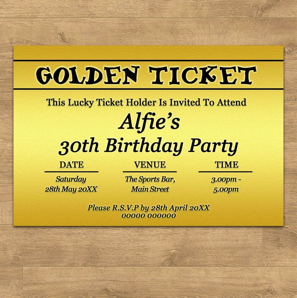 Golden Ticket Birthday Invitation Best Of Personalised Golden Ticket Birthday Party Invites