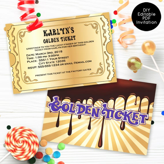 Golden Ticket Birthday Invitation Elegant Golden Ticket Invitations Chocolate Factory Invitations
