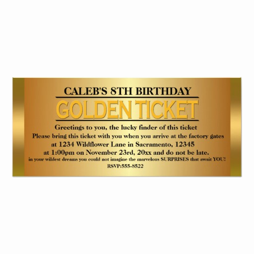 Golden Ticket Birthday Invitation Elegant Golden Ticket Type Birthday Party event Invitation