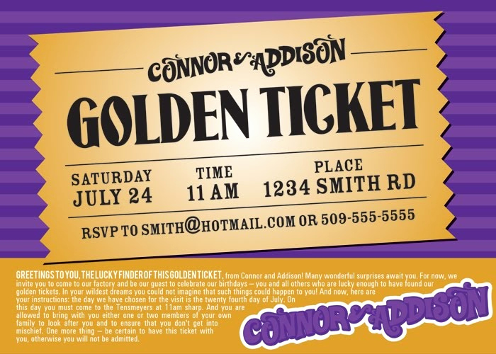 Golden Ticket Birthday Invitation Inspirational Julie Saraceno Willy Wonka Party