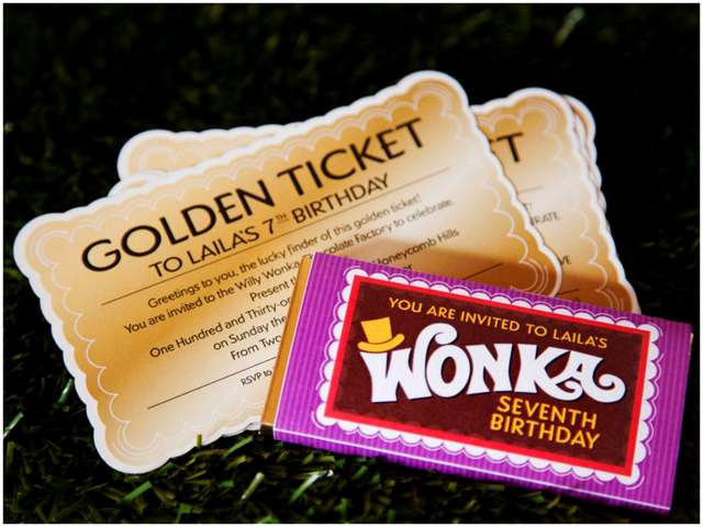 Golden Ticket Birthday Invitation Lovely Colorful Willy Wonka Birthday Party