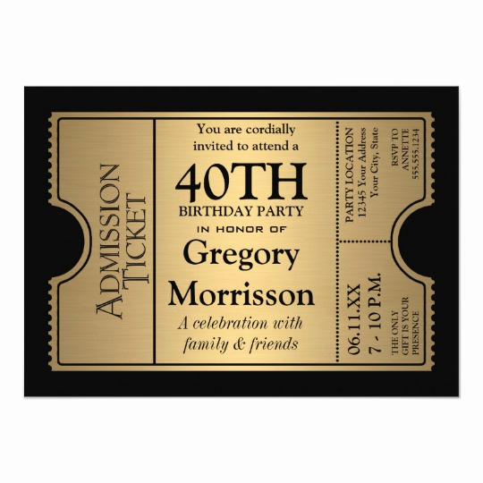 Golden Ticket Birthday Invitation Lovely Golden Ticket Style 40th Birthday Party Invite