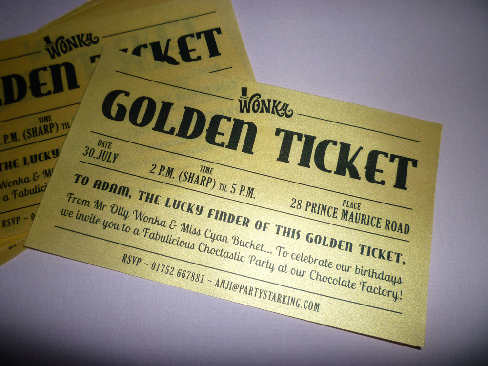 Golden Ticket Birthday Invitation Lovely Starking Crafty and Party Golden Ticket Chocolate