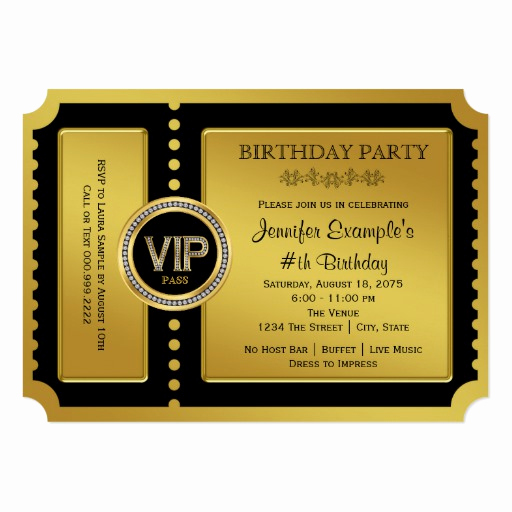 Golden Ticket Birthday Invitation Lovely Vip Golden Ticket Birthday Party 5x7 Paper Invitation Card