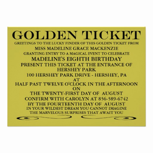 "Golden Ticket Birthday Invitation Luxury the Golden Ticket Birthday Invitation 4 5"" X 6 25"