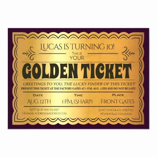 Golden Ticket Birthday Invitation Unique Golden Ticket Birthday Party Invitation