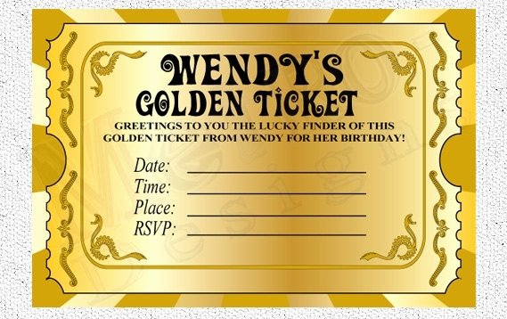 Golden Ticket Birthday Invitation Unique Golden Ticket Party Invitation Template Free Cobypic