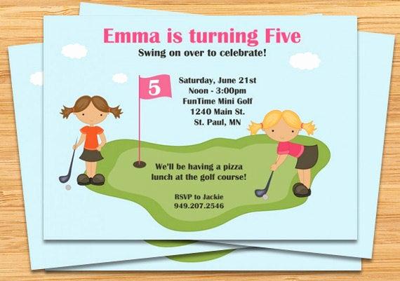 Golf Invitation Template Free Fresh Miniature Golf Birthday Party Invitation Girls