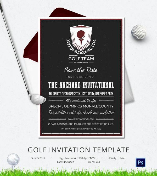 Golf Invitation Template Free Luxury 25 Fabulous Golf Invitation Templates & Designs