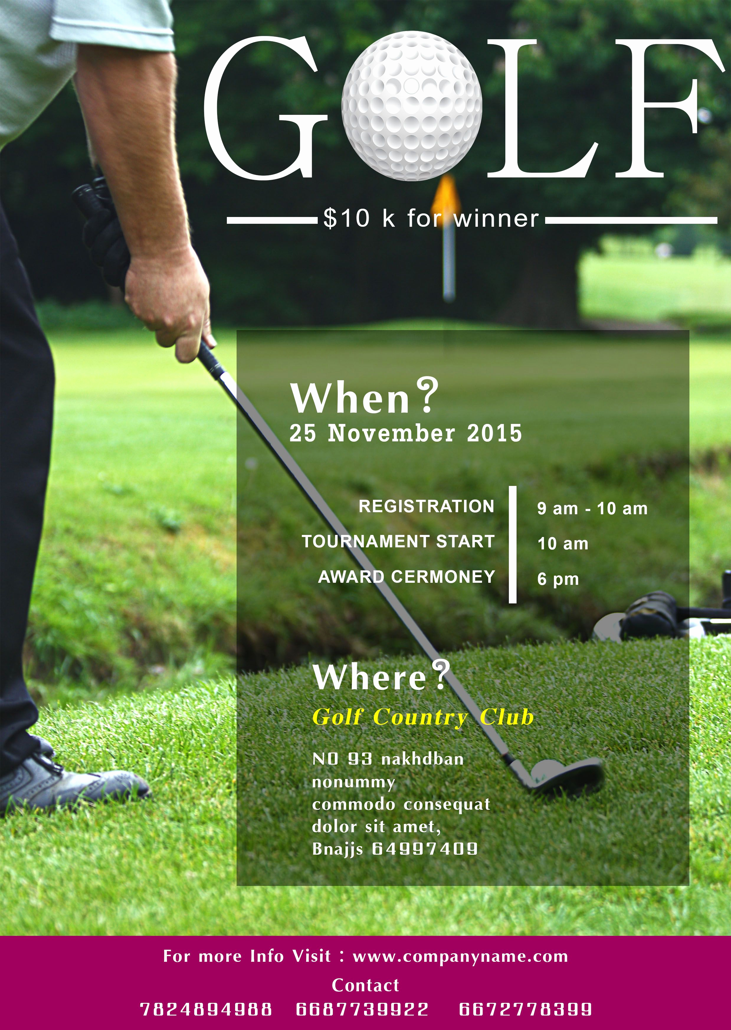 Golf Invitation Template Free Unique Golf tournament Flyer Template Free