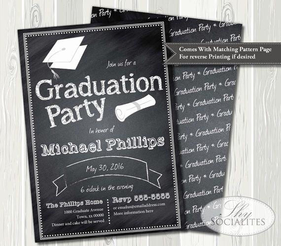 Grad Party Invitation Ideas Beautiful Chalkboard Graduation Invitation