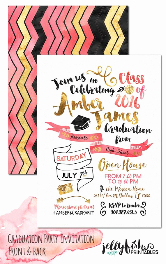 Grad Party Invitation Ideas New Unique Graduation Party Invitation for by Jellyfishprintables