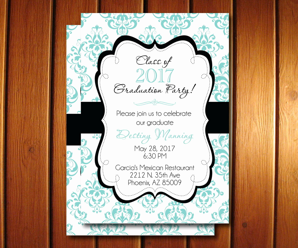 Graduation Announcement and Party Invitation Awesome Graduation Party Invitations Printable Damask Grad
