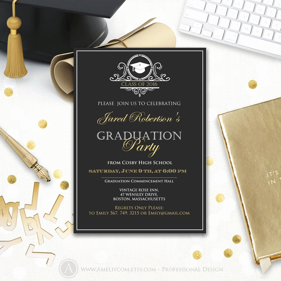 Graduation Announcement and Party Invitation New Graduation Party Invitation Printable Boy College Graduation