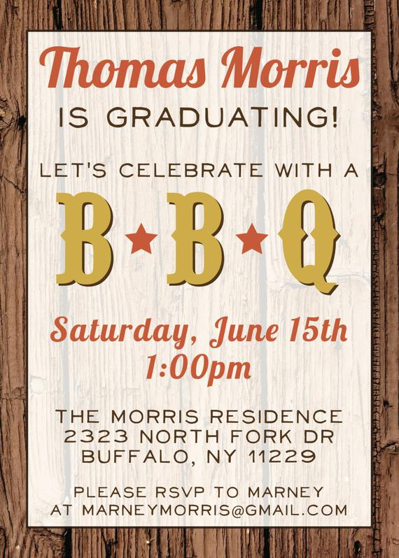 Graduation Bbq Invitation Wording Awesome Custom Bbq Graduation Party Invitation Digital File
