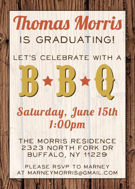 Graduation Bbq Invitation Wording Awesome Custom Bbq Graduation Party Invitation Digital File