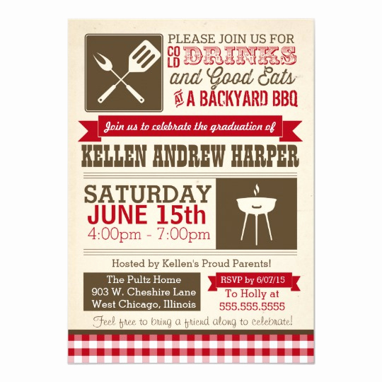 Graduation Bbq Invitation Wording Beautiful Bbq Graduation Party Invitation Barbecue Barbeque Card