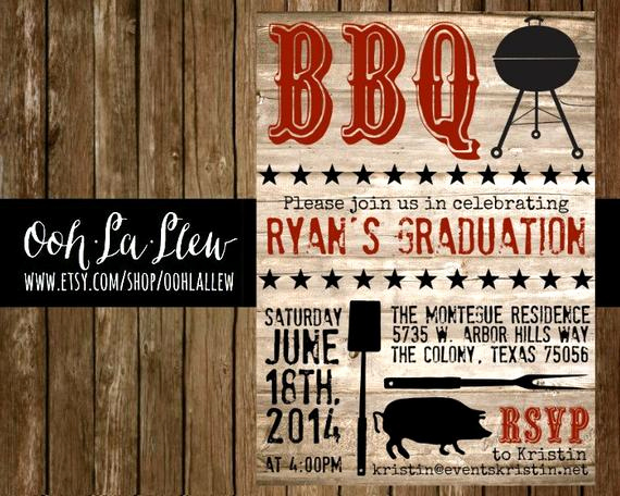 Graduation Bbq Invitation Wording Beautiful Graduation Bbq Party Invitation by Oohlallew On Etsy