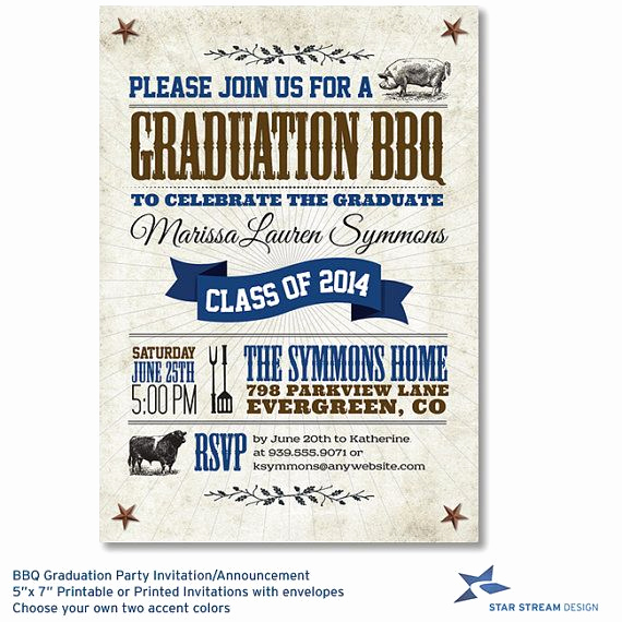 Graduation Bbq Invitation Wording Best Of Bbq Graduation Party Invitation and Announcement
