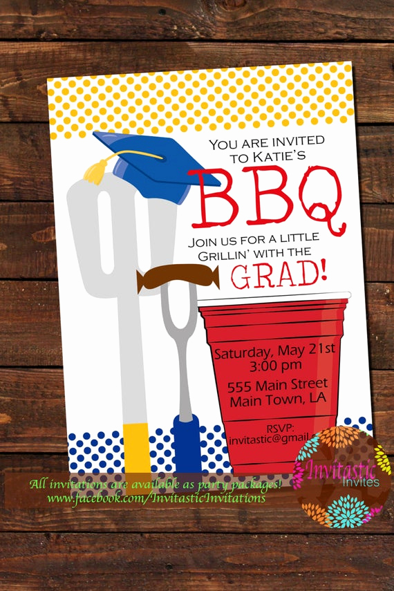 Graduation Bbq Invitation Wording Elegant Barbeque Graduation Party Invitation End Of the School Year