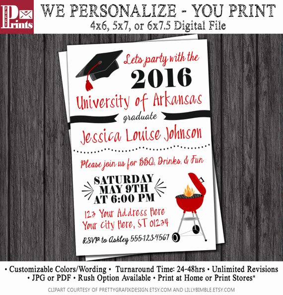 Graduation Bbq Invitation Wording Elegant Bbq Graduation Party Invitation Any University or College