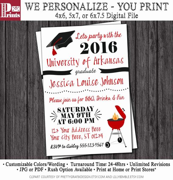 Graduation Bbq Invitation Wording Elegant Bbq Graduation Party Invitation Any University or College