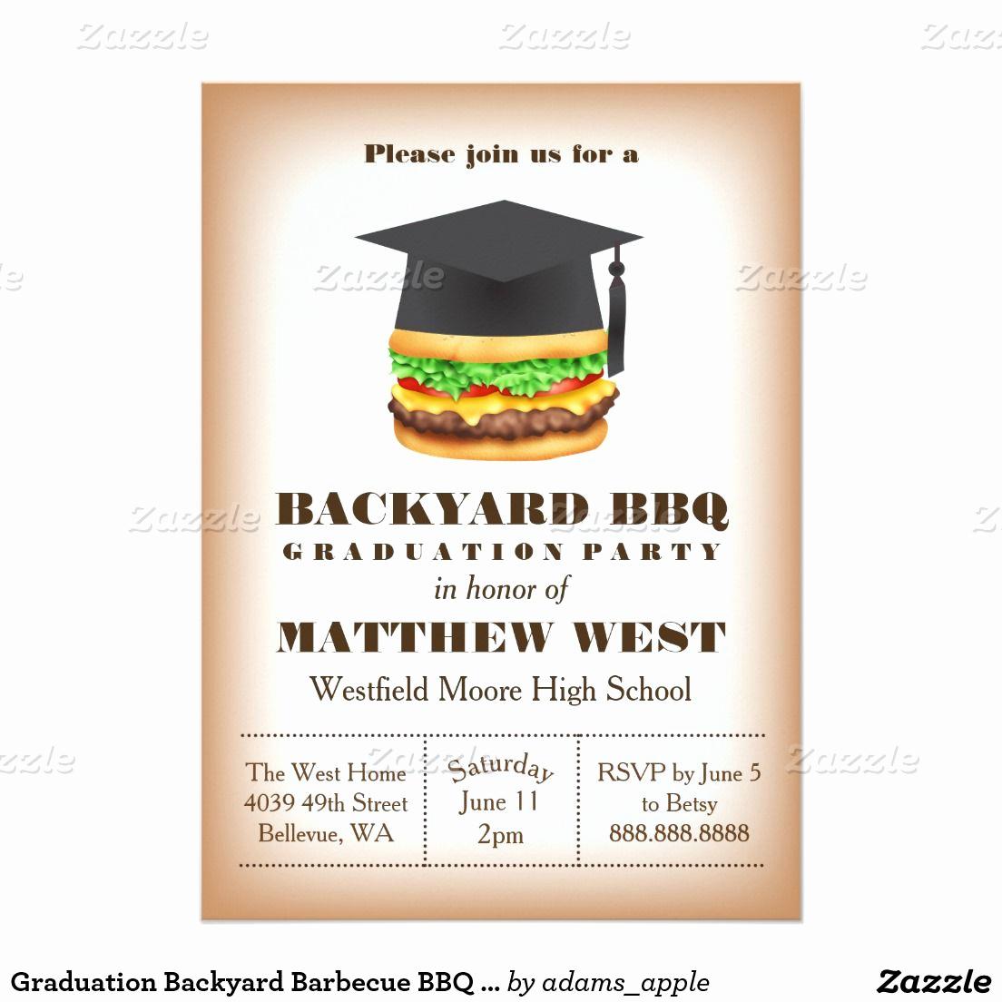 Graduation Bbq Invitation Wording Inspirational Graduation Backyard Barbecue Bbq Party Cookout 5x7 Paper