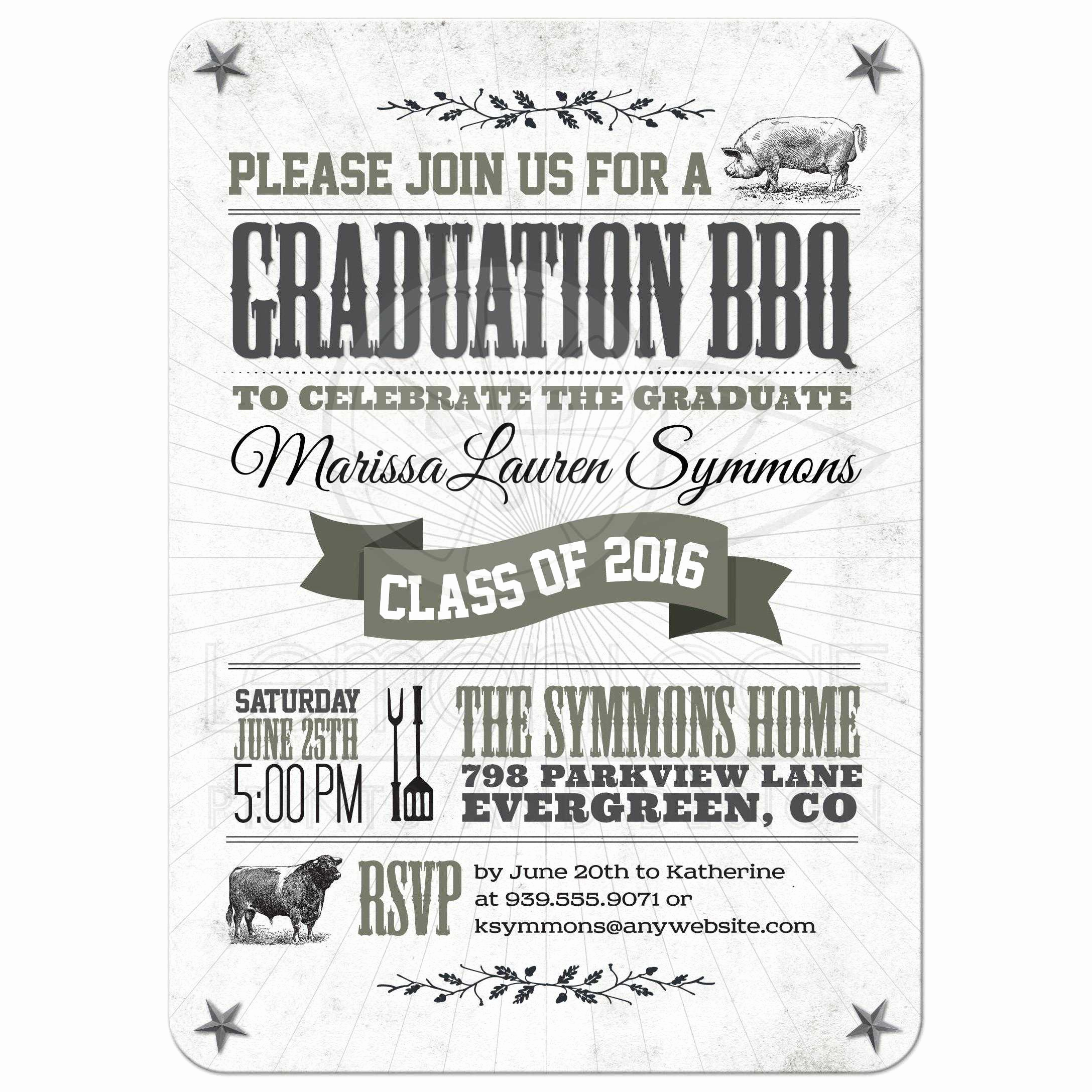 Graduation Bbq Invitation Wording Inspirational Graduation Party Invitation Rustic Bbq Pig and Cow Gray