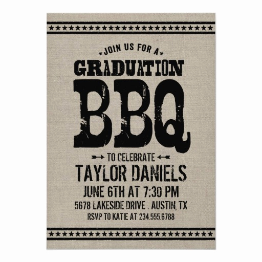 Graduation Bbq Invitation Wording Inspirational Rustic Retro Vintage Graduation Party Bbq 5x7 Paper