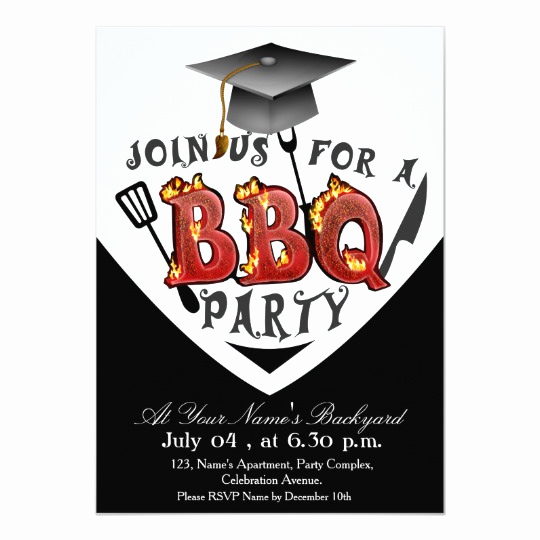 Graduation Bbq Invitation Wording Lovely Graduation Bbq Party Invitations