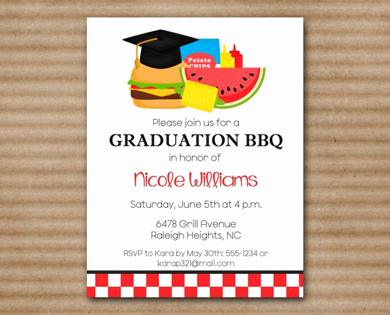 Graduation Bbq Invitation Wording Lovely Printable Graduation Bbq Invitation by Paperhousedesigns