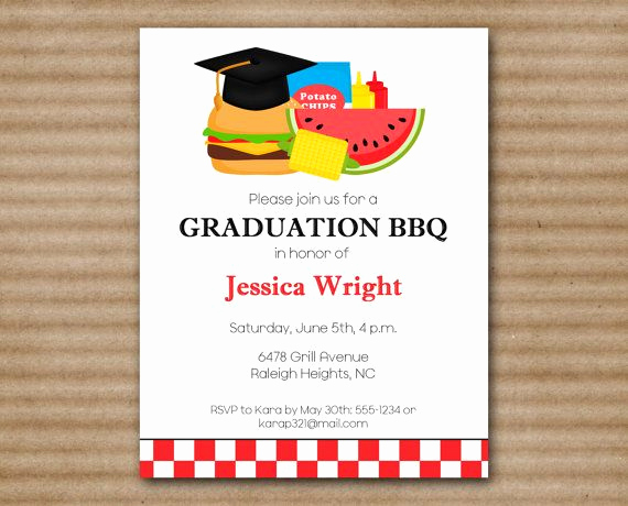 Graduation Bbq Invitation Wording Luxury Graduation Bbq Invitation Barbeue by Paperhousedesigns