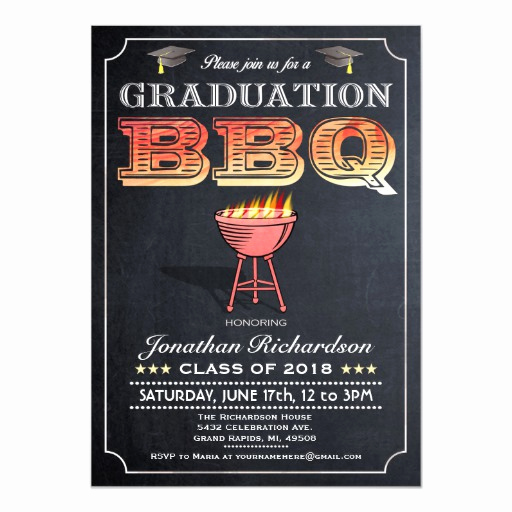 Graduation Bbq Invitation Wording Luxury Graduation Bbq Invitations Grill & Chalkboard
