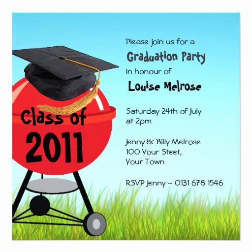 Graduation Bbq Invitation Wording Luxury Graduation Summer Bbq Barbeque Party 13 Cm X 13 Cm Square