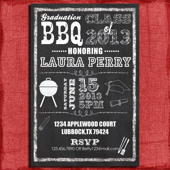 Graduation Bbq Invitation Wording New Printable Graduation Bbq Chalkboard Style 4x6 or 5x7