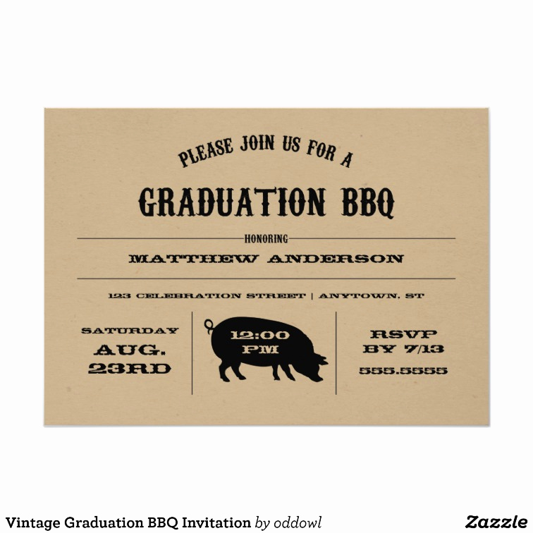Graduation Bbq Invitation Wording New Vintage Graduation Bbq Invitation